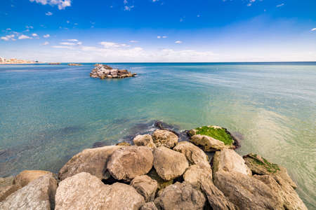 romagna: rocks on the Adriatic Riviera in Romagna, Italy Stock Photo