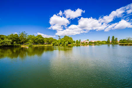 romagna: small lake in the public park of a town in the Romagna