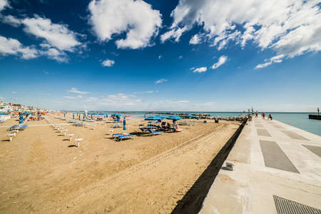 romagna: Panorama of the Adriatic Riviera in Romagna, Italy, with beaches, sea, umbrellas Stock Photo