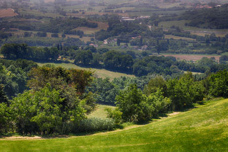 romagna: panorama of green hills on the border between Emilia Romagna and Marche in Italy