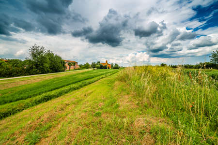 eighteenth: eighteenth-century church in bucolic landscape of the countryside of Romagna in Italy Stock Photo