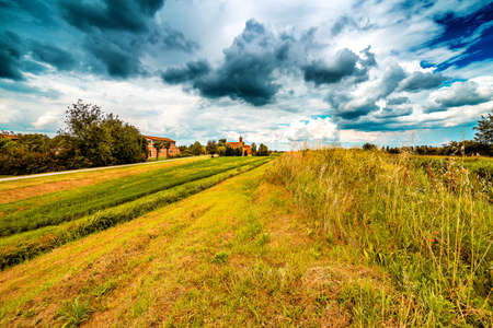 bucolic: eighteenth-century church in bucolic landscape of the countryside of Romagna in Italy Stock Photo