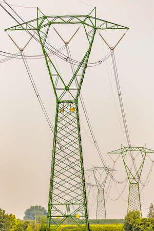 torres el�ctricas: torres de alta tensi�n en un campo de trigo