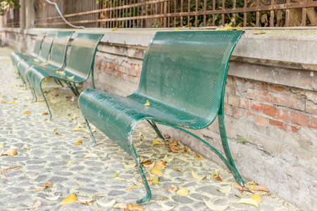 cobbled: green iron benches lined up in a cobbled street with leaves and pollen