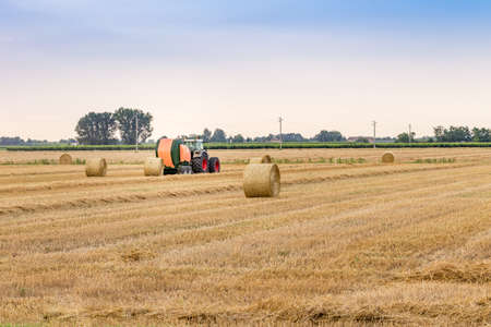 collects: tractor collects the hay and press it in bales