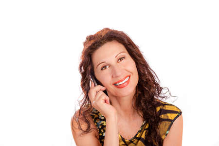 classy: mature classy woman talking on cell phone isolated on white background Stock Photo