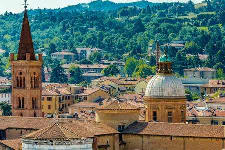 panoramic view of rooftops and buildings in Bologna, Italy