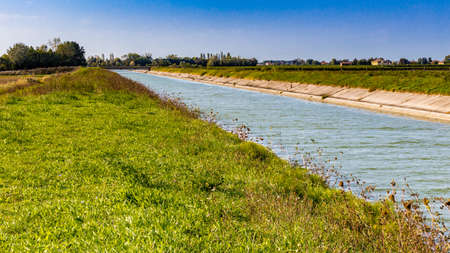 farmlands: irrigation canal for farmlands in Emilia Romagna