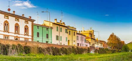 colourful houses in village in Emilia Romagna in Italy Stock Photo
