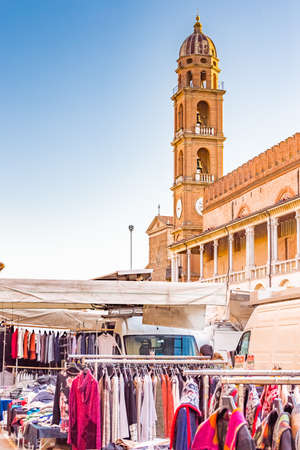 weekly market: weekly market in the main square of the town in Emilia Romagna, Italy Stock Photo