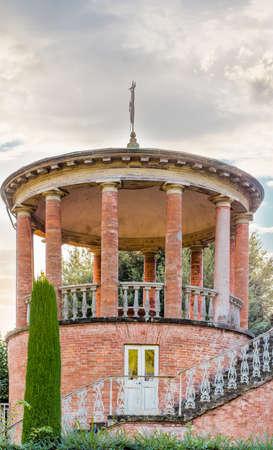 the eighteenth: eighteenth century gazebo with brick columns