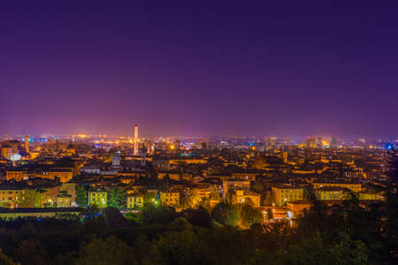 nightscape of Bologna in Italy