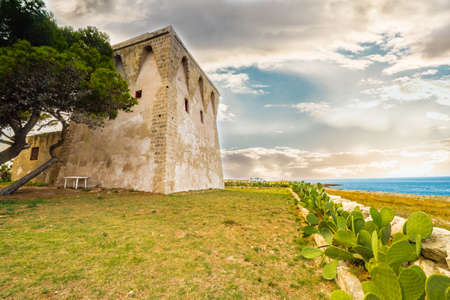 puglia: ancient lookout tower on the coast of Puglia Stock Photo