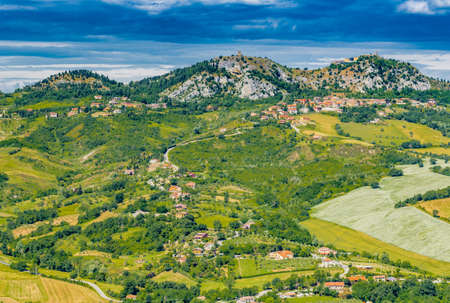 panorama of the countryside of Romagna in Italy