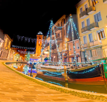 comacchio: night view of lagoon city during Christmas