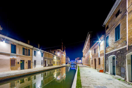 comacchio: night view of lagoon city during winter Stock Photo