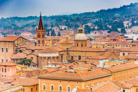 Aerial cityscape view of Bologna  in Italy
