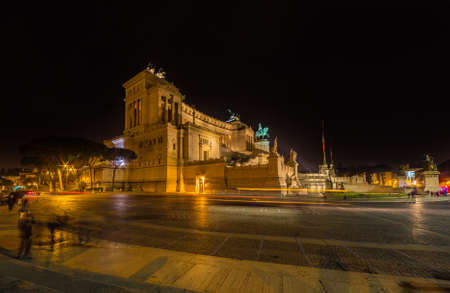 altar of fatherland: National Monument to Victor Emmanuel II at night in Rome