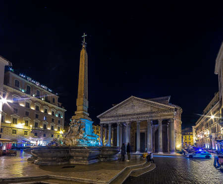 square in the historic center of Rome at night