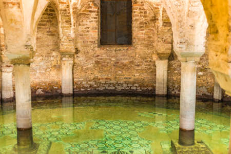 ravenna: ancient flooded crypt with floor mosaics in Italy
