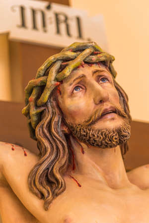 detail of sculpture of the Crucifixion of Jesus Christ with crown of thorns
