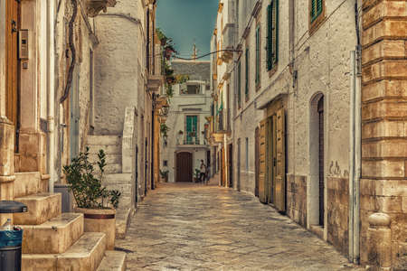 scenical: locorotondo in Apulia, Italy, whitewashed houses and narrow streets