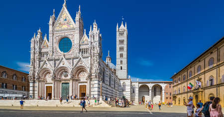 The Cathedral of Siena, one of the most famous Romanesque and Gothic cathedrals in Italy
