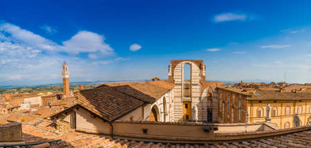 roofs of the Cathedral of Siena, one of the most famous Romanesque and Gothic cathedrals in Italy