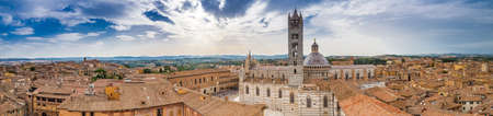 top view of Siena, wonderful medieval town under the sun of Tuscany, Italy Stock Photo
