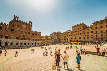 panoramic view of the main square of Siena in Italy, where the famous horse race is held