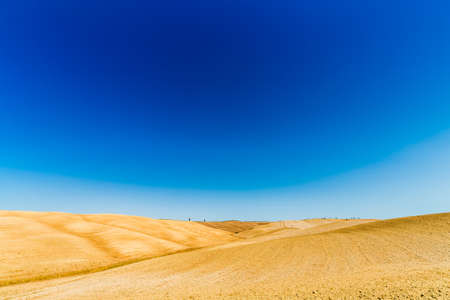 lunar landscape of Senese Clays, region of badlands under the sun of Tuscany in Italy Stock Photo