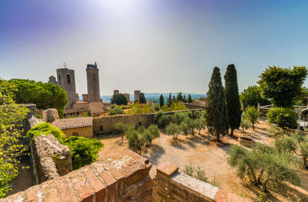 Panorama of San Gimignano, famous medieval village in Tuscany, Italy Stock Photo