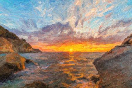 elba: Scenic coastal sunset with orange light on island of Elba Stock Photo