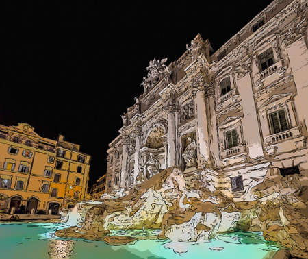 ancient Roman Fountain at night in Rome, Italy