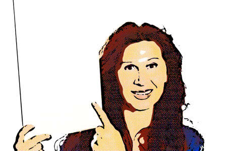 Happy mature woman with Arab and Middle Eastern somatic traits and dyed with henna hair smiles pointing her finger at blank white signboard she is holding in portrait orientation Stock Photo