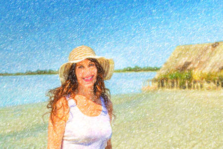 Attractive mature busty woman in very good shape with wide hat on a sun split beach with  straw hut Stock Photo