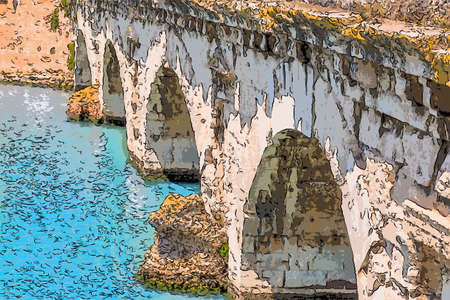 clear water under the arches of the Roman bridge of Augustus Stock Photo