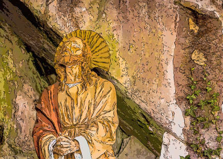Jesus Christ while praying in the garden of olive trees Stock Photo