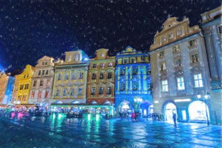 プラハの旧市街広場 (旧市街広場) の図面をクレヨン: 建物、家屋や市場 写真素材