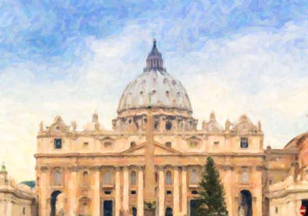 성 베드로, 바티칸 시티에서 공회당의 그림 : 돔 및 외관