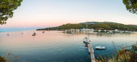 elba: boats in the bay of island in Italy Stock Photo