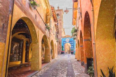 エミリア ・ ロマーニャ州、イタリアのボローニャ近くのドッツア中世小さな村の家の壁に描いた作品も安定しました。