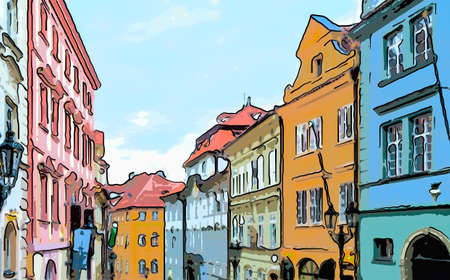 Streets and buildings of Mala Strana quarter in Prague
