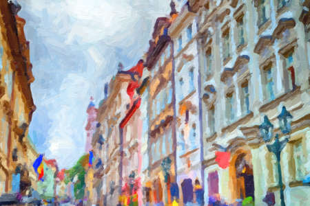 painting of Streets and buildings of Mala Strana quarter in Prague