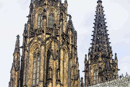 the unusual clock of the cathedral of St Vitus in Prague, a church with dark Gothic towers guarded by gargoyle: this church is the main religious symbol of the Czech Republic Stock Photo
