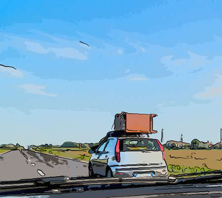 moving and unusual road traffic - a wooden cabinet transported on the roof rack of a small car as seen through the windshield of the car that follows in Italian countryside