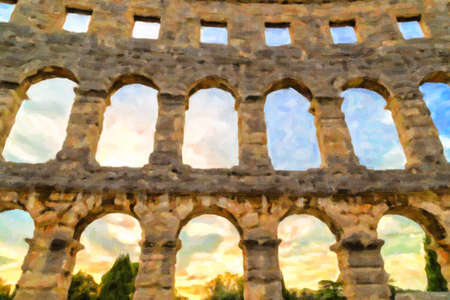 Architecture details of the Roman amphitheatre in Pula, Croatia, an arena similar to Colosseum of Rome Imagens