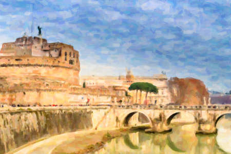 Historical buildings and architecture details in Rome, Italy:  bridge to The Mausoleum of Hadrian, or Castle of the Holy Angel