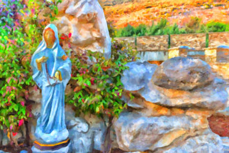 Statue of the Blessed Virgin Mary with wooden prayer beads necklace in a house rock  garden  with treesin  Medjugorje