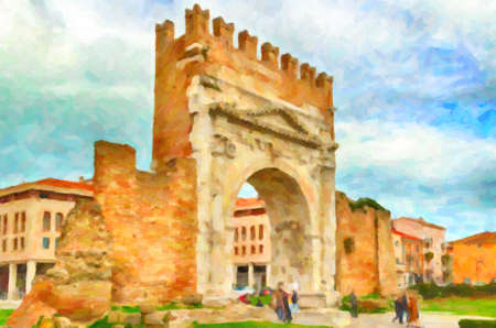 archways: Arch of Augustus, an ancient Roman gateway to the city of Rimini in Italy